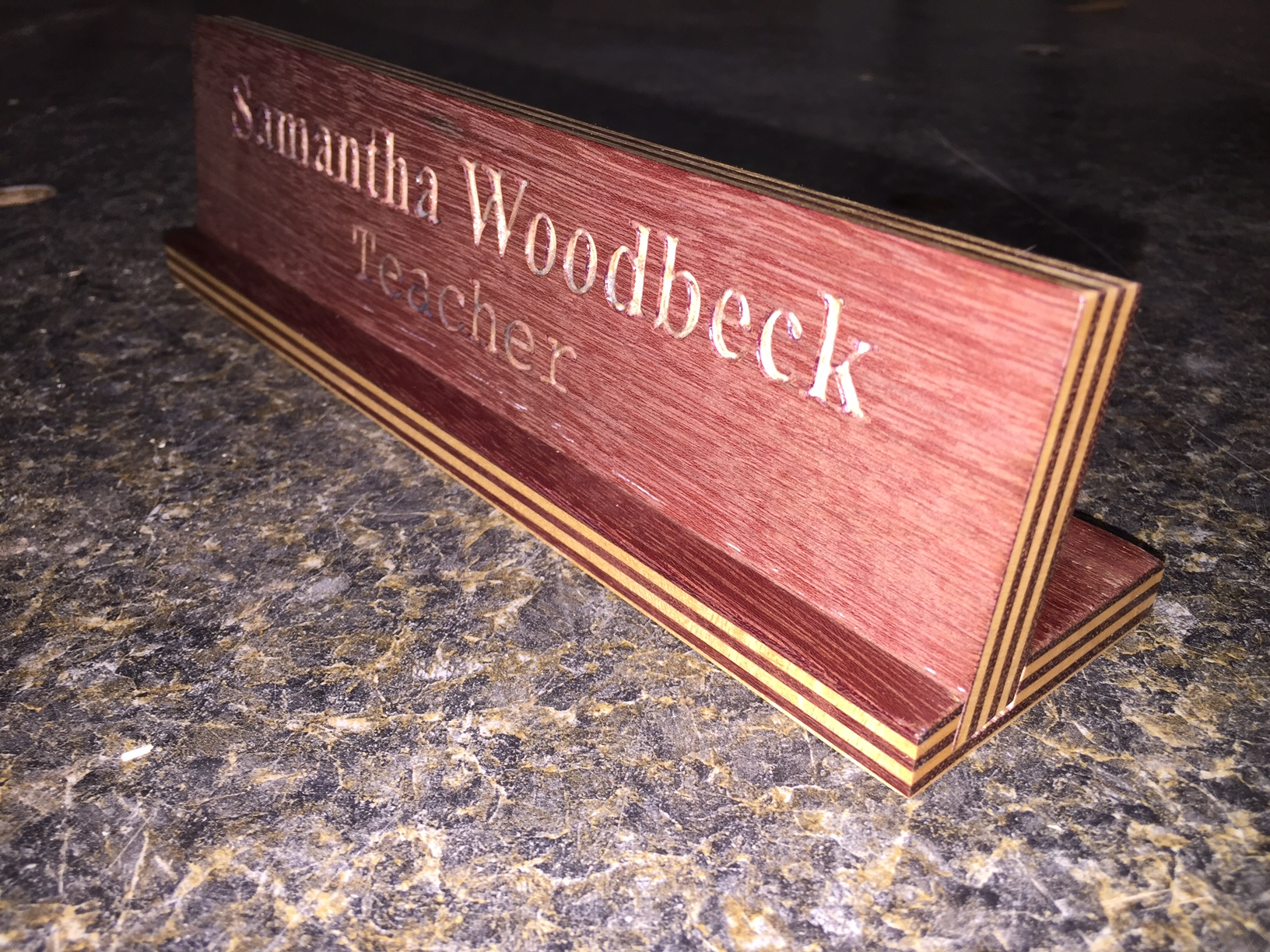 Engraved Desk Name Plate | Woodwork by Woodbeck